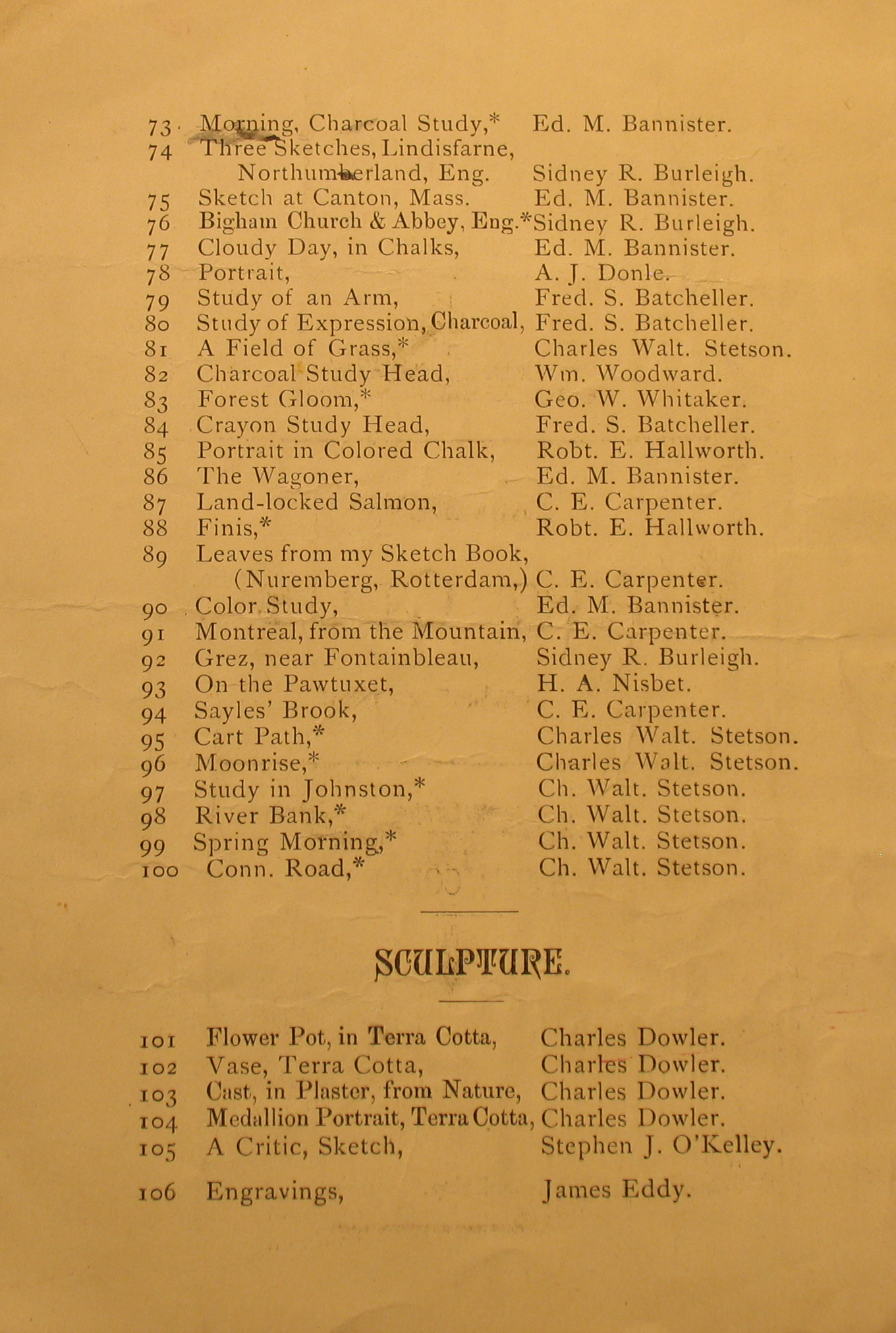Providence Art Club Catalogue for Dec. 1, 1880, page 3