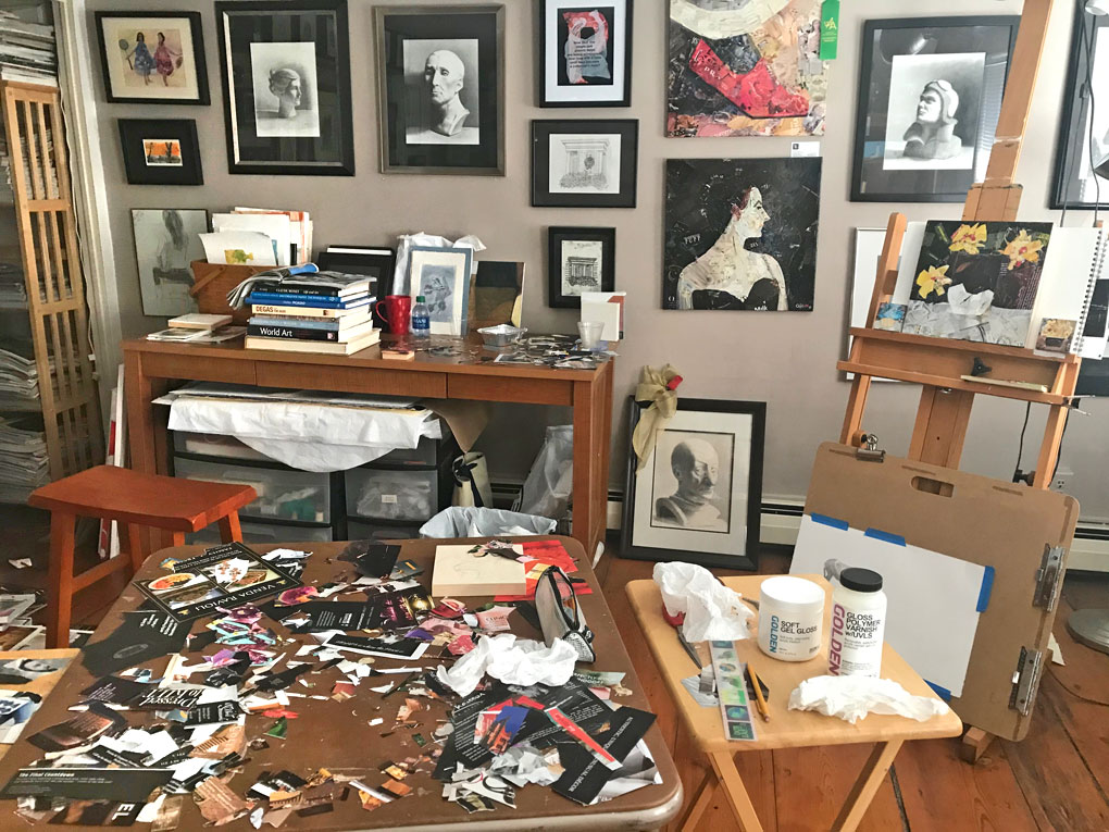 My studio space, with collage in progress
